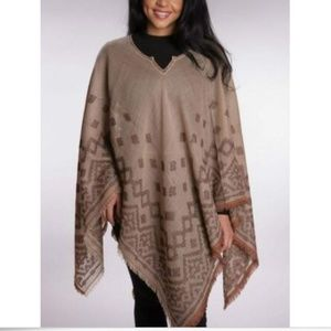Wool and Cotton Poncho Handmade in India